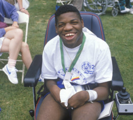 handicapped African American athlete